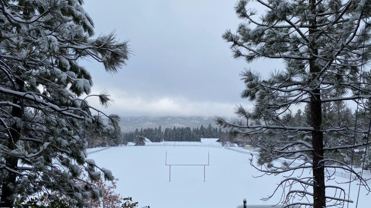 Big Bear football field is ready for snowboarding