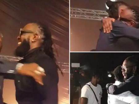 The Moment Burna Boy, Timaya & Duncan Mighty Hugged Tightly During Burna's Homecoming Show