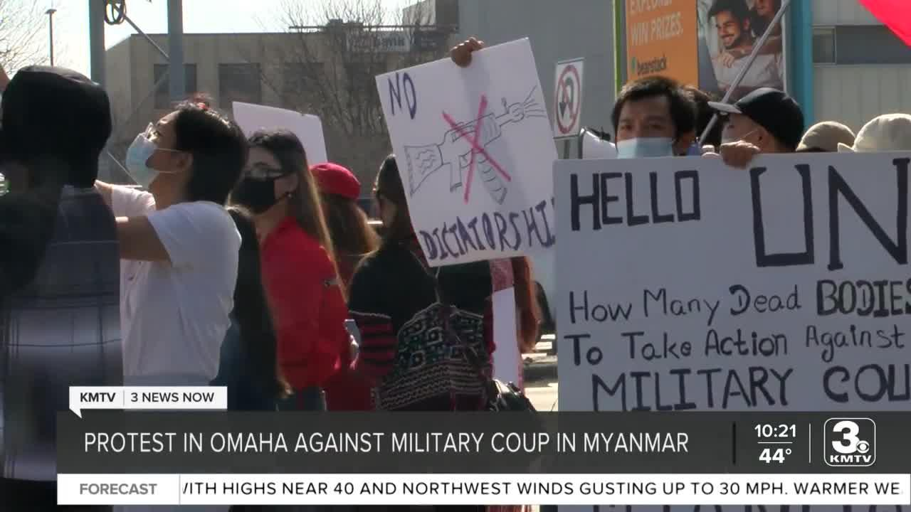 Protest held in Omaha against military coup in Myanmar