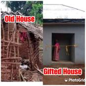Check Out Photo Of New House Built For Elderly Woman And Her Old Makeshift Thatch House