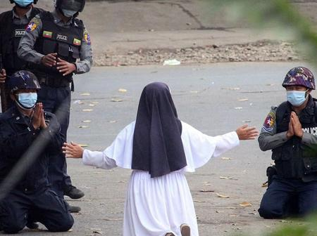 Myanmar Nun Fell To Her Knees In Prayer At A Protest Against The Coup; See What The Police Did.