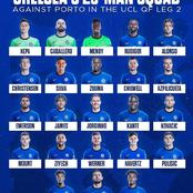 Chelsea Confirm The 23-Man Squad To Play Against Porto In The Second Leg Of UCL Quater-finals