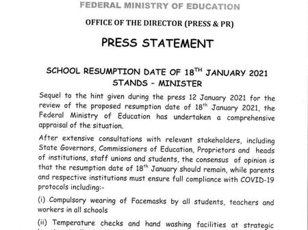 Ministry Of Education Confirms January 18 Resumption Date