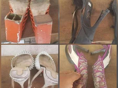 Nigerian Lady Shares Photos Of Old Shoes Someone Received As Giveaway