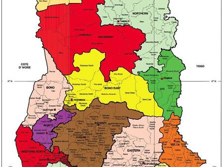 Know The New Map Of Ghana And Their Regional Capitals