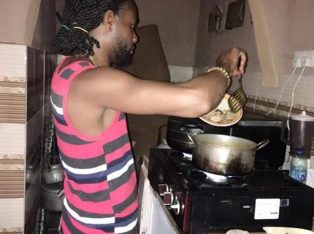 People react as Nigerian man shares photos of the starch and Banga soup he prepared