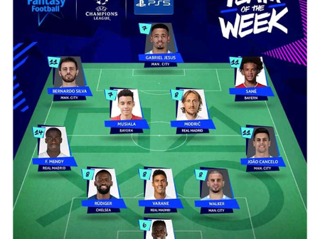 Champions League team of the week after round of 16 first leg.