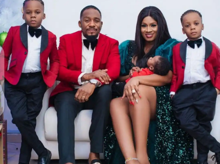 Uche Ogbodo, Destiny Etiko, others reacts as Jnr Pope flaunts his children and wife in new photo.