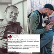 Yayra Koku Blows Hot After Facebook Allegedly Banned Him For What He Said About LGBTQ (More Details)