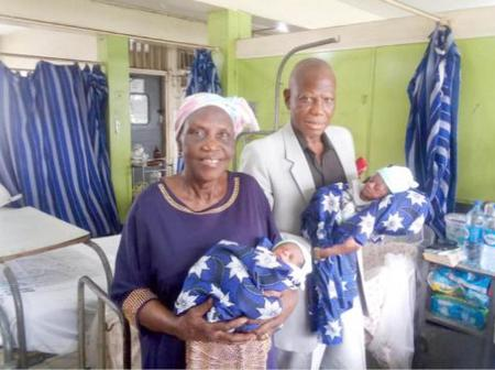 Mr and Mrs Adenuga with their twins born after over 35 years of marriage