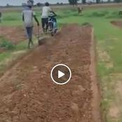 Netizens Excited by a Video of Two Men Using Bodabodas to Plough a Piece of Land.