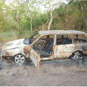 Photos: two vehicles and nine motorcycles burnt as kidnappers attacked Ogun hunters