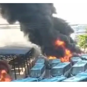 EndSARS: Hoodlums Reportedly Set Ablaze Lagos State BRT Buses In Oyingbo