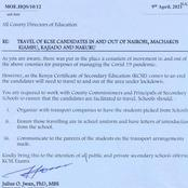 The Breakdown On How Form Four Students Will Travel In And Out Of The Affected Counties