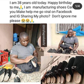 Meet The Crippled Man That Is Celebrating His Birthday Today, He Makes Footwears For A Living.