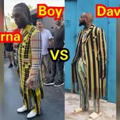Reactions as photos of Davido and Burna wearing the same cloth surface online
