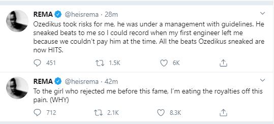 Singer, Rema goes on lengthy Twitter rant