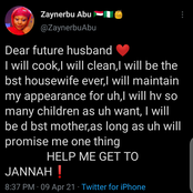 A Muslim Lady elicits reactions for promising to be the best housewife for her future husband