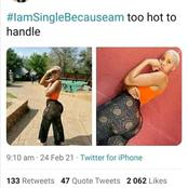 She says that she is single because she can not be handled