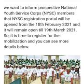 NYSC Announces The Date Registration Portal Will Be Opened And Closed For 2021 Mobilization
