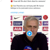 Mourinho goes hard on Ole after his comment on Son's incident that leads to Man Utd's disallowed goal