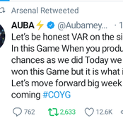 Checkout What Aubameyang Said About VAR after Arsenal's 1-1 draw With Burnley