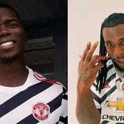 Burna Boy reacts as Man United player Paul Pogba challenges him to a football contest