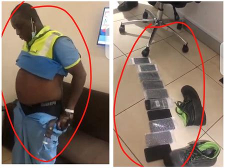 Airport Worker Caught With Stolen phones, See where he kept them on his Body (Video)