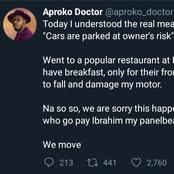 Nigerian Doctor Shares His Experience After Parking In Front Of An Eatery With A