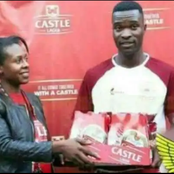 Player receives packs of beers as man of the Match award. Here is more: