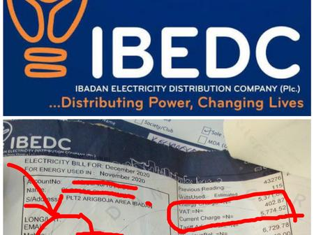 Electricity Tariff Hike: See IBEDC November 2020 Bill Before NERC Announcement On January 4, 2021