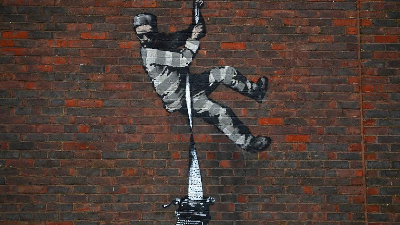 Video: Banksy channels his inner Bob Ross