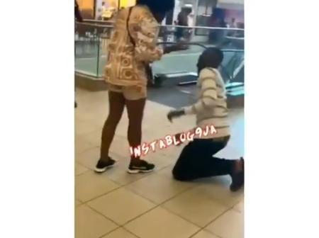 Moment A Lady Slaps Her Boyfriend For Proposing To Her In Public (Video)