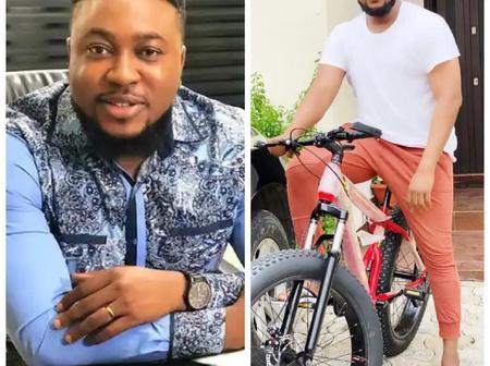 Fans react as Actor, Nosa Rex shares Photos of himself riding a Bicycle