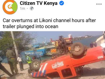 Panic at Likoni channel after another vehicle overturned injuring one person.