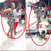 Alleged Pregnant Woman Couldn't Cross The Gutter, See The Lovely Thing Her 'Husband' Did (PHOTO)