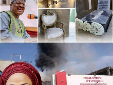 4 Months After Abiola Ajimobi Was Buried in An Expensive Grave, Fire Guts His Wife's Supermarket