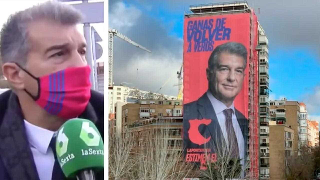 Laporta: My banner at Bernabeu is like saying 'looking forward to score six against Real Madrid'