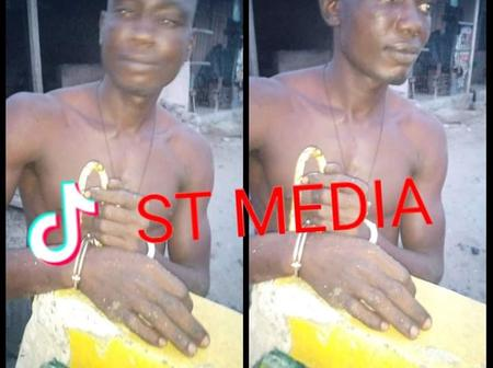 This young man was caught stealing materials and pairs of shoes from a shop in Sapele, Delta State.