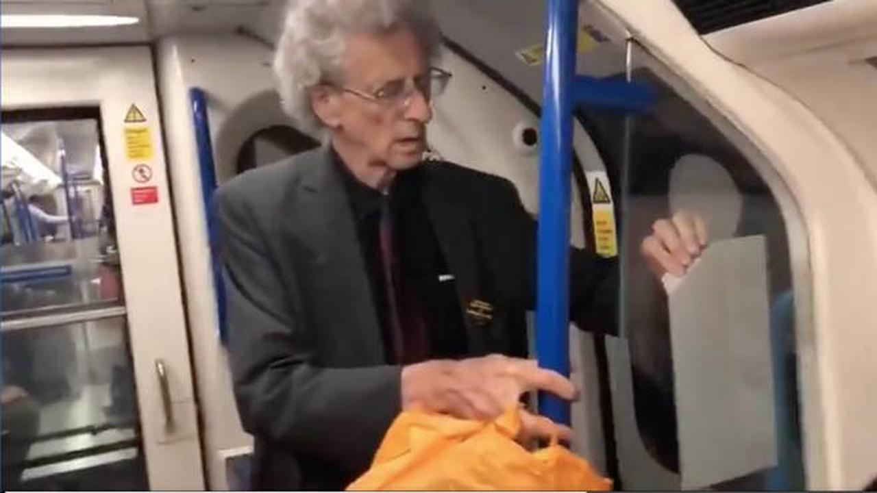 Piers Corbyn filmed removing social distancing stickers from London Underground