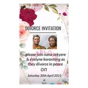 Mixed reactions as young Ghanaian couple sends out invitation card for their divorce party.