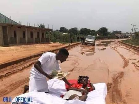 Couple Re-enacts Their Honeymoon On A Bad Road To Draw Attention of Imo Govt.