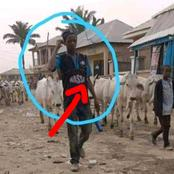 Reactions as a Fulani herdsman is seen wearing this T- Shirt meant for students