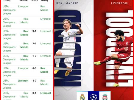 Liverpool Will Play Against Real Madrid, See Their Last 6 Meetings In UEFA Champions League