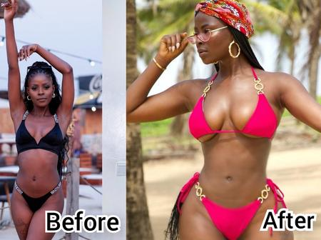 Before and after pics of BBN's Koko that show her body transformation
