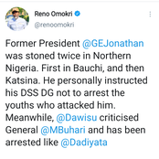 Jonathan Was Stoned Twice in Northern Nigeria And Yet He Instructed DSS Not To Arrest Anyone - Reno Faults Buhari