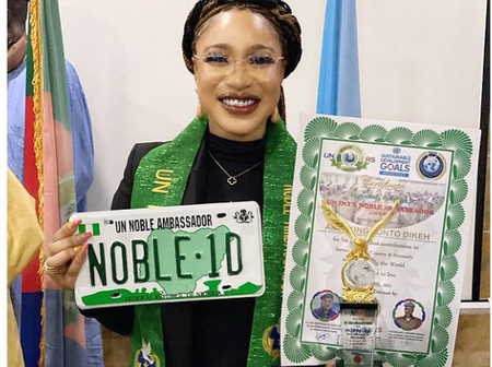 Take a look at the Ambassadorial award and official plate number given to Tonto Dikeh