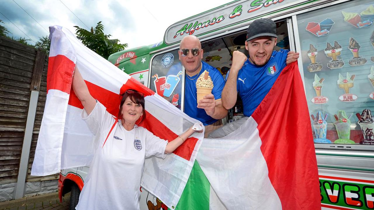 Split Sundae for Italian ice cream man and English girlfriend during Euros final