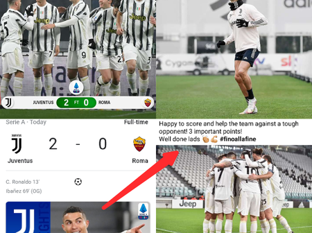 Cristiano Ronaldo Drops Fresh Message After Juventus Beat Roma In Today's Match (Photos)