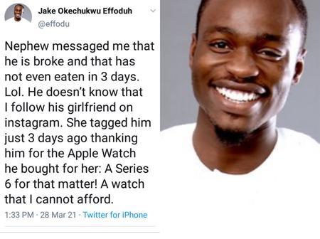 After Buying An Apple Watch For His Girlfriend, My Nephew Told Me That He Was Broke - Man Narrates